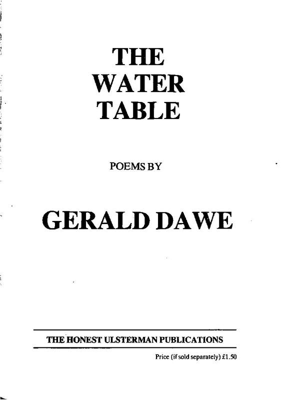 Gerald Dawe: The Water Table